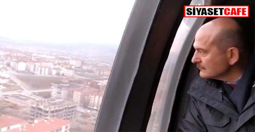 Bakan Soylu, Elazığ'da depremden zarar gören yerleri helikopterle inceledi!