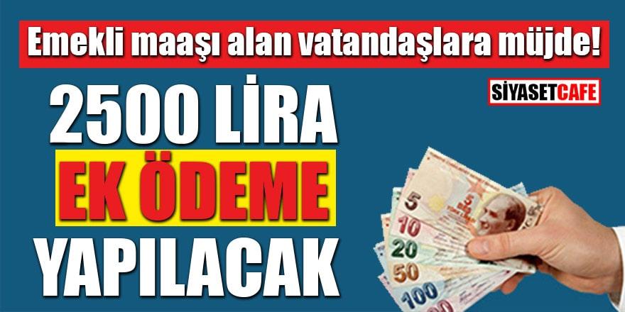 Emekli maaşı alan vatandaşlara müjde! 2 bin 500 lira ek ödeme yapılacak