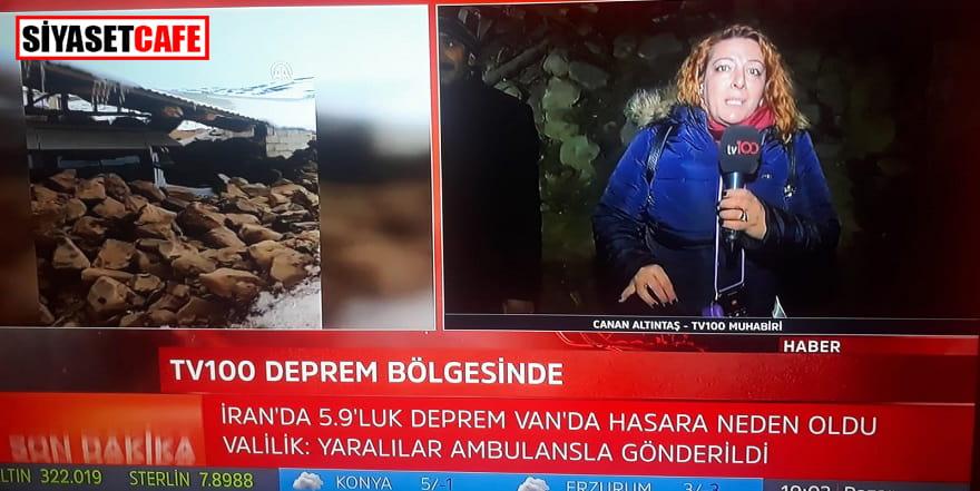 Van'da yine deprem oldu, muhabir canlı yayında depreme yakalandı
