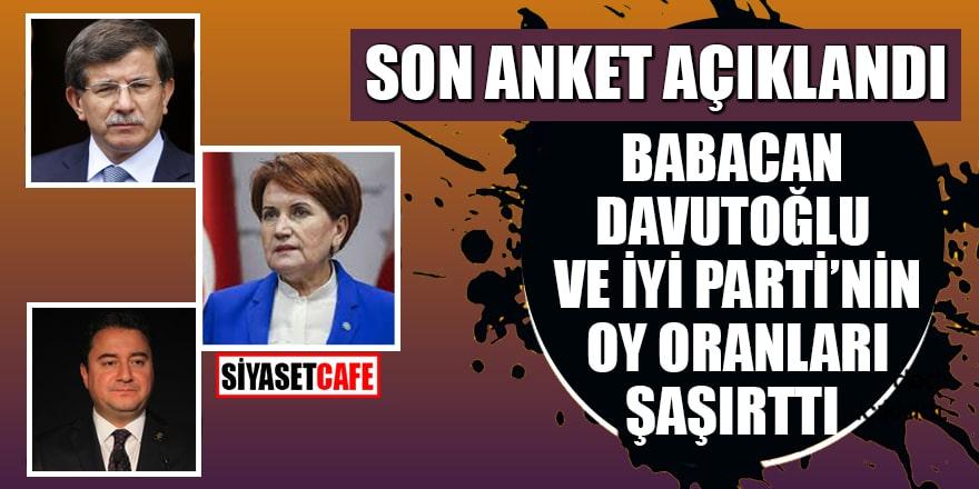 Son anket açıklandı: Babacan, Davutoğlu ve İYİ Parti'nin oy oranları şaşırttı