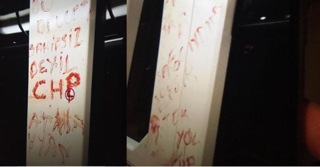 Eskişehir'de bir kişi kendi kanıyla tramvayda CHP yazdı