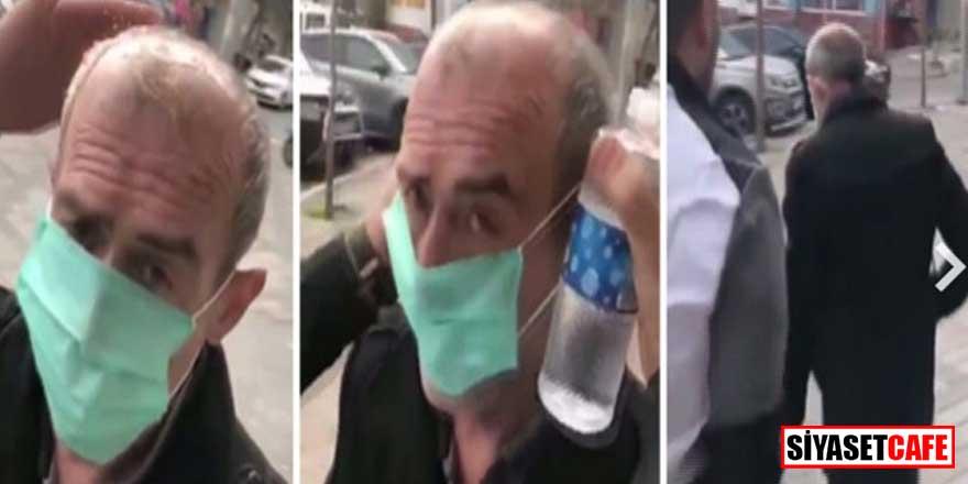 Yaşlı vatandaşa maske takıp kafasına kolonya döken kişi gözaltında