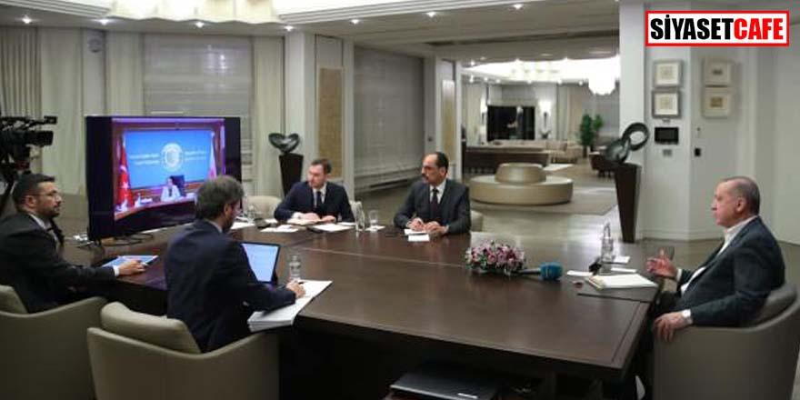 Erdoğan af yasasını video konferansta görüştü