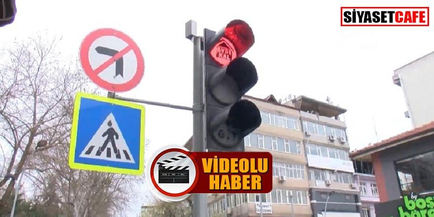 Trafik ışıklarıyla #evdekal çağrısı