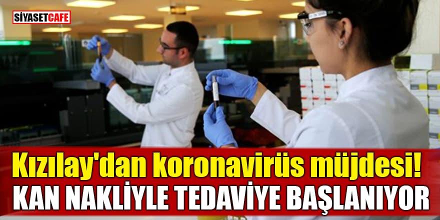 Kızılay'dan koronavirüs müjdesi! Kan nakliyle tedaviye başlanıyor