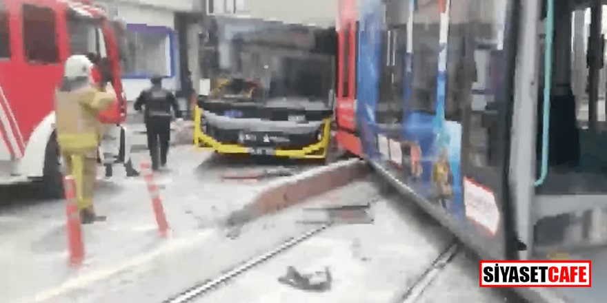 İstanbul'da feci kaza! Raydan çıkan tramvay otobüse çarptı