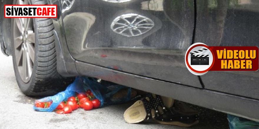 Kahreden görüntü: Arabanın altında kaldı!