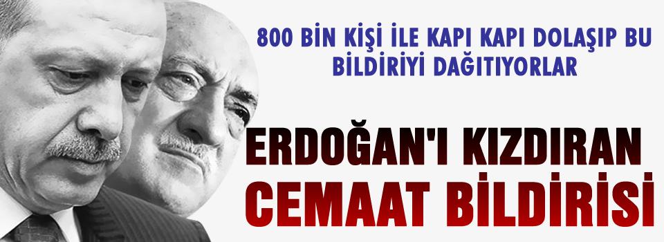 Erdoğan'ı kızdıran cemaat bildirisi
