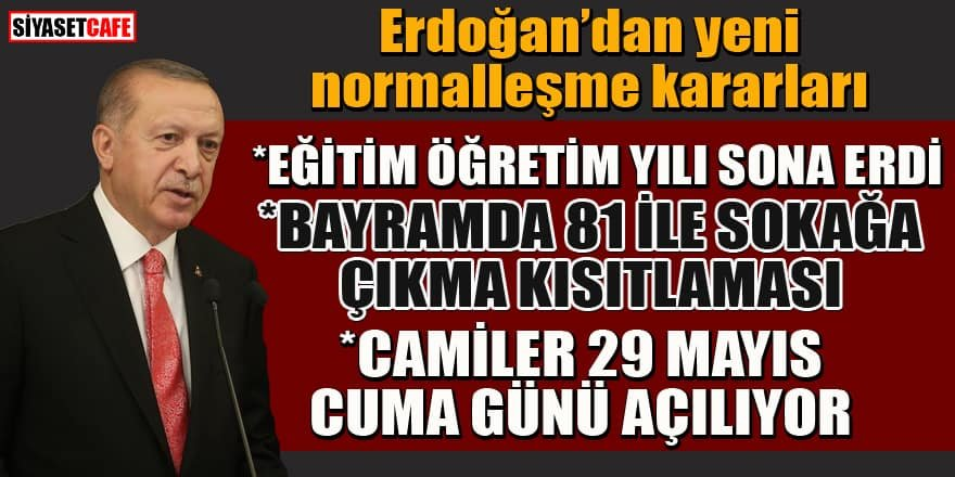 Erdoğan'dan yeni koronavirüs tedbirleri
