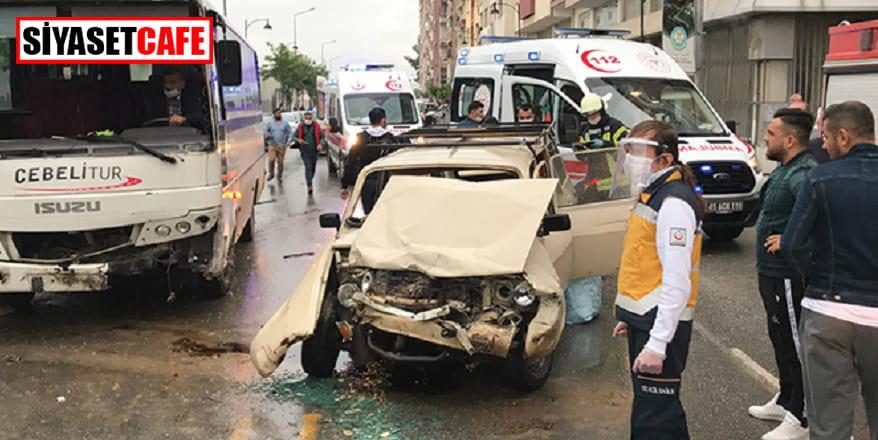 İşçi servisi kaza yaptı,5 kişi yaralandı