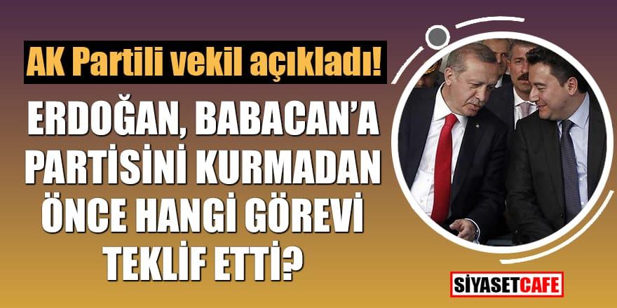 AK Partili vekil açıkladı! Erdoğan, Babacan'a partisini kurmadan önce hangi görevi teklif etti