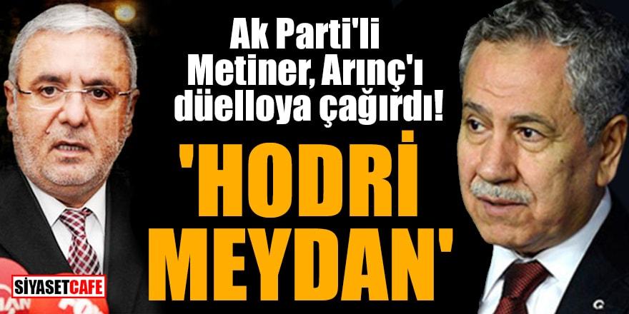 Ak Parti'li Metiner, Arınç'ı düelloya çağırdı! 'Hodri meydan'