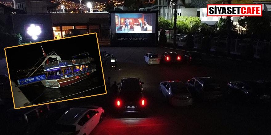 Bodrum'da araba ve teknelere sinema gösterimi