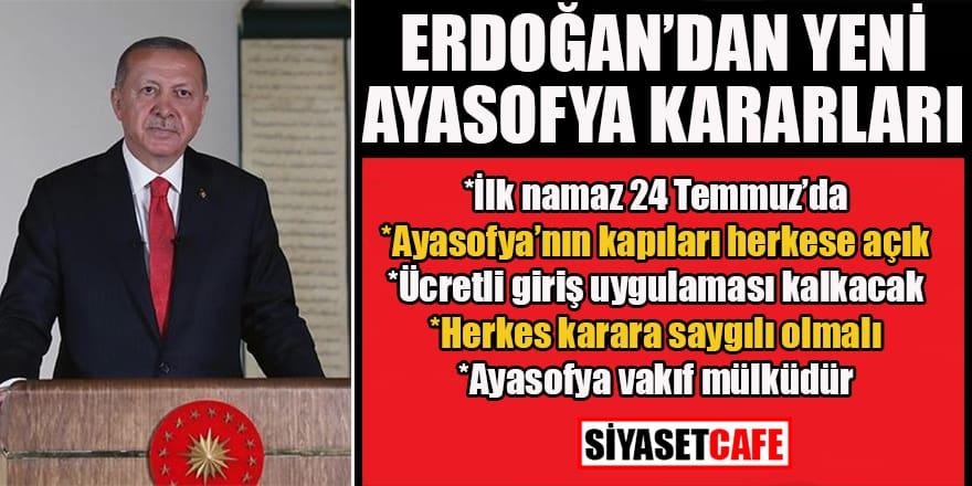 Erdoğan'dan yeni Ayasofya kararları