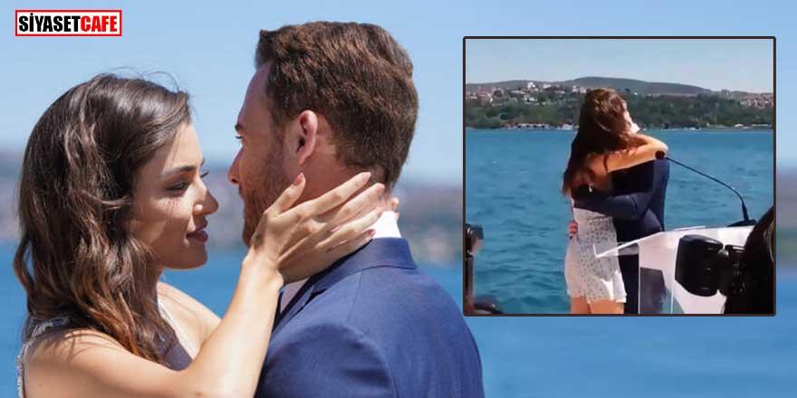 Hande Erçel ve Kerem Bürsin'in bu görüntüleri olay oldu! Uzun uzun öpüştüler...