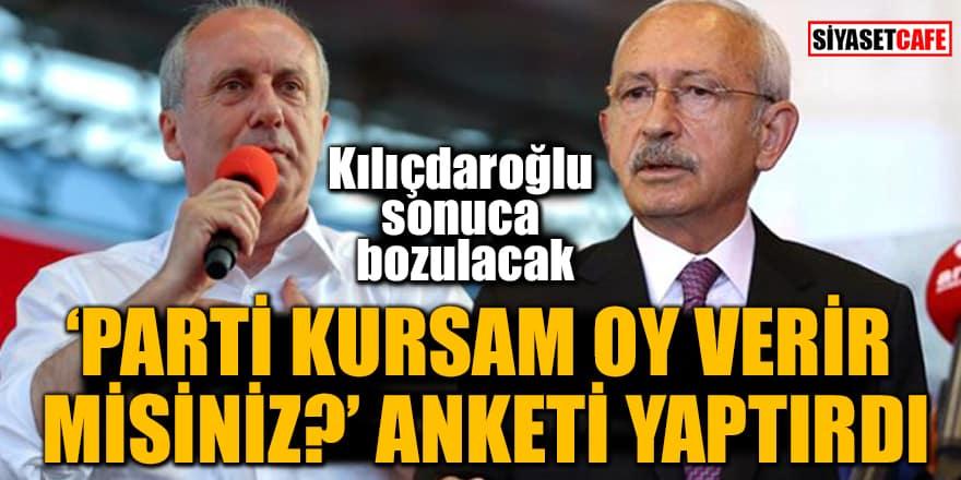 İnce 'Parti kursam oy verir misiniz' anketi yaptırdı! Kılıçdaroğlu sonuca bozulacak