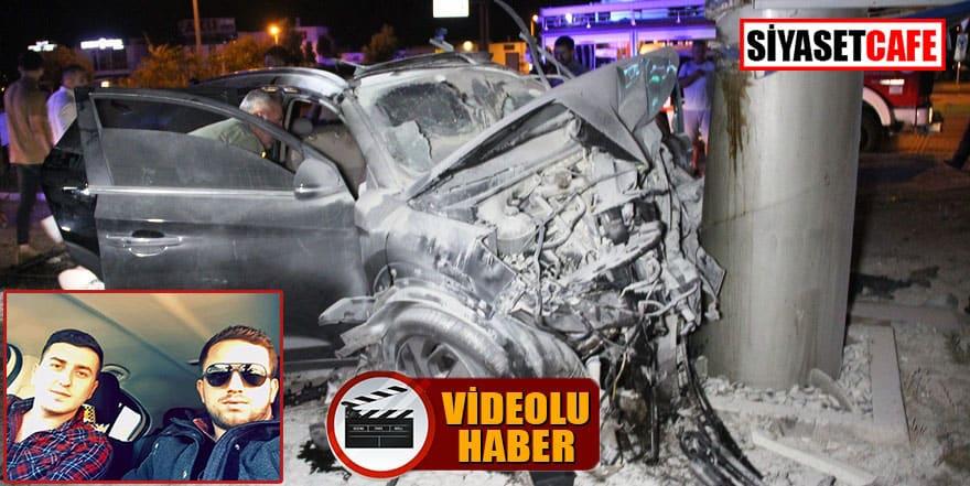 2 genci hayattan koparan kaza güvenlik kamerasında!
