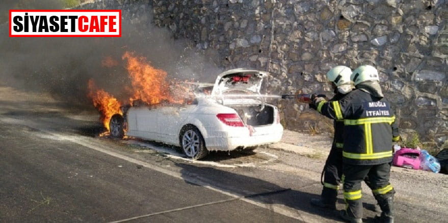 Muğla'da lüks otomobil yangını