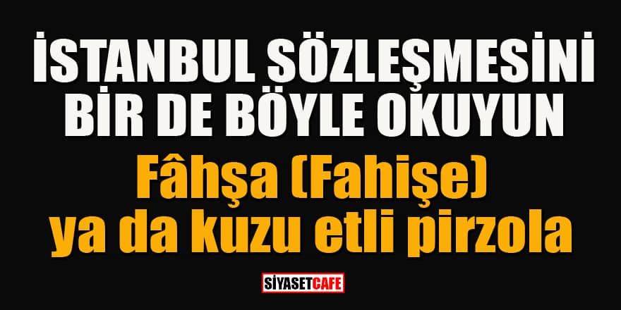 İstanbul Sözleşmesini bir de böyle okuyun: Fâhşa (Fahişe) ya da kuzu etli pirzola