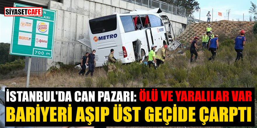 Sarıyer Kuzey Marmara Otoyolu'nda yolcu otobüsü yoldan çıktı!