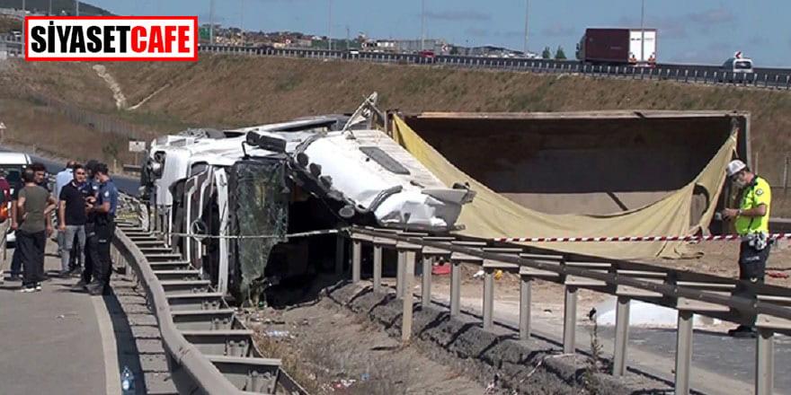 Şile yolunda feci kaza: Kamyon sürücüsü öldü!