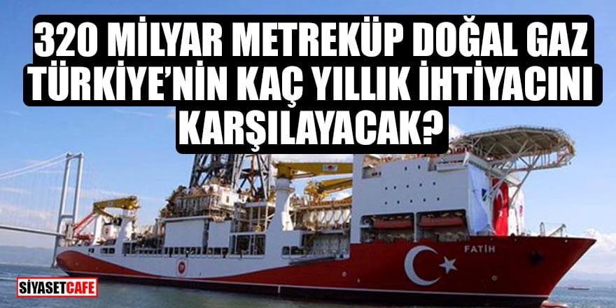 320 milyar metreküp doğal gaz Türkiye'nin kaç yıllık ihtiyacını karşılayacak?