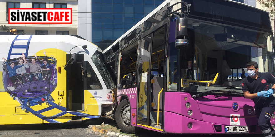 İstanbul'da feci kaza! Tramvay halk otobüsüne çarptı