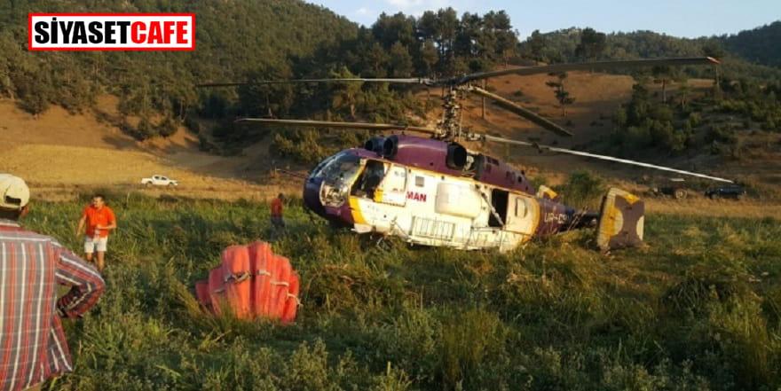 Yangına giden helikopter acil iniş yaptı