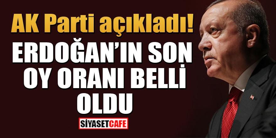 AK Parti, Erdoğan'ın son oy oranını açıkladı