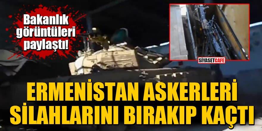 Bakanlık görüntüleri paylaştı! Ermenistan askerleri silahlarını bırakıp kaçtı