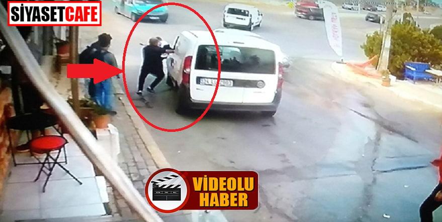 İzmir'de el freni arızalanan aracı işte böyle durdurdu