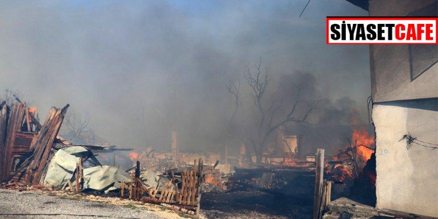 Çıkan yangın köyü kül etti