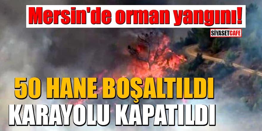 Mersin'de orman yangını! 50 hane boşaltıldı, karayolu kapatıldı