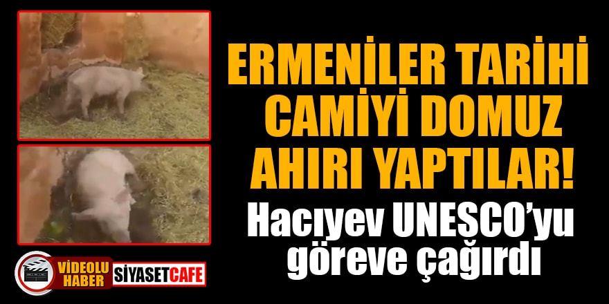 Ermeniler tarihi camiyi domuz ahırı yaptılar! İşte o skandal görüntüler