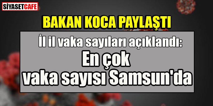 Bakan Koca paylaştı: En çok vaka sayısı Samsun'da