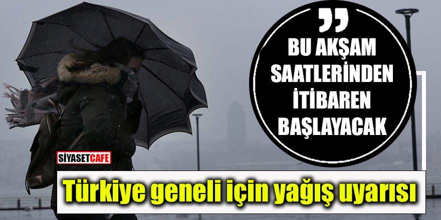 Türkiye'nin tüm bölgeleri için yağış uyarısı