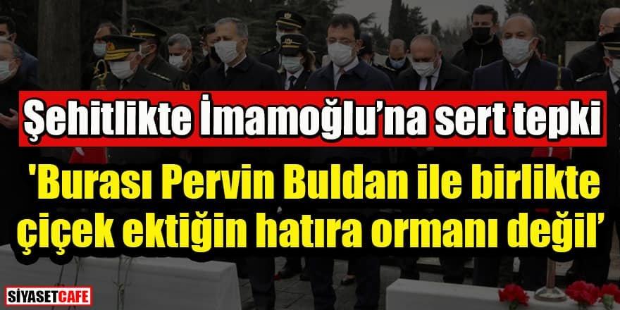 Şehitlikte İmamoğlu'na tepki:'Burası Pervin Buldan ile birlikte  çiçek ektiğin hatıra ormanı değil'