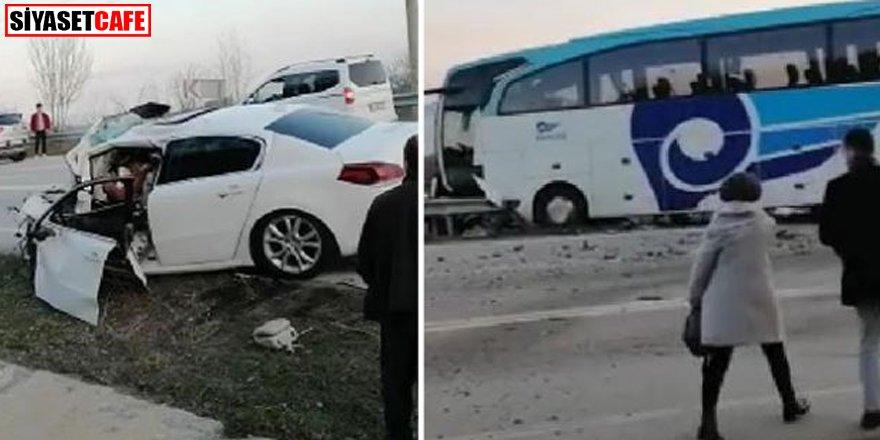 Yolcu otobüs ile otomobil çarpıştı: 3 ölü, 10 yaralı