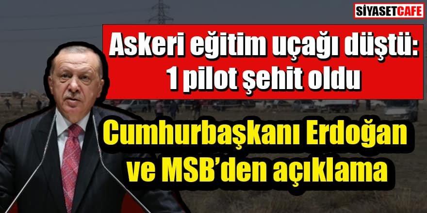 Konya'da askeri gösteri uçağı düştü: MSB ve Erdoğan'dan açıklama