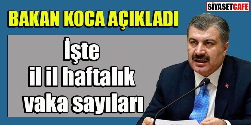 Sağlık Bakanı Koca illere göre haftalık vaka sayılarını açıkladı