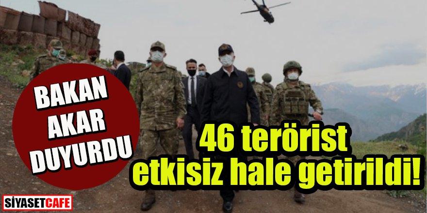 Bakan Akar: Pençe-Şimşek ve Pençe-Yıldırım operasyonlarında 46 terörist etkisiz hâle getirildi