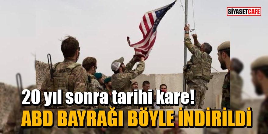 20 yıl sonra tarihi kare! ABD bayrağı indirilip Afganistan bayrağı göndere çekildi