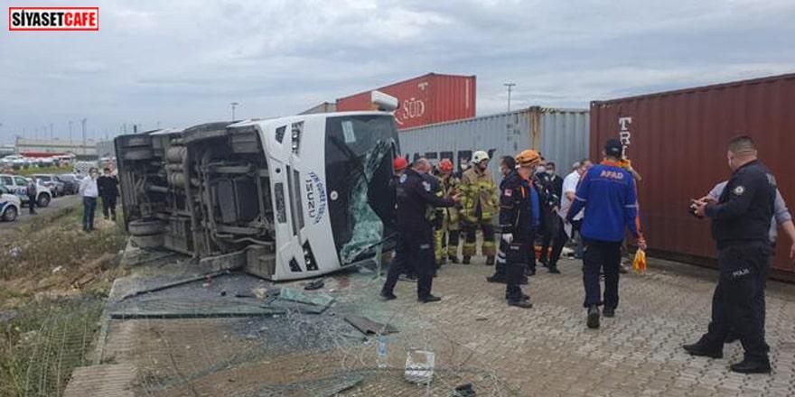 Bursa'da işçileri taşıyan araç devrildi: Ölü ve yaralılar var