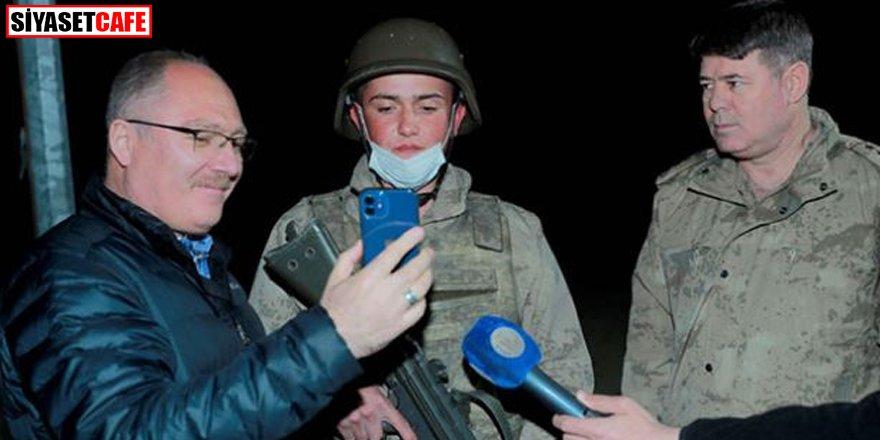 İftar yapan askerlere sürpriz telefon