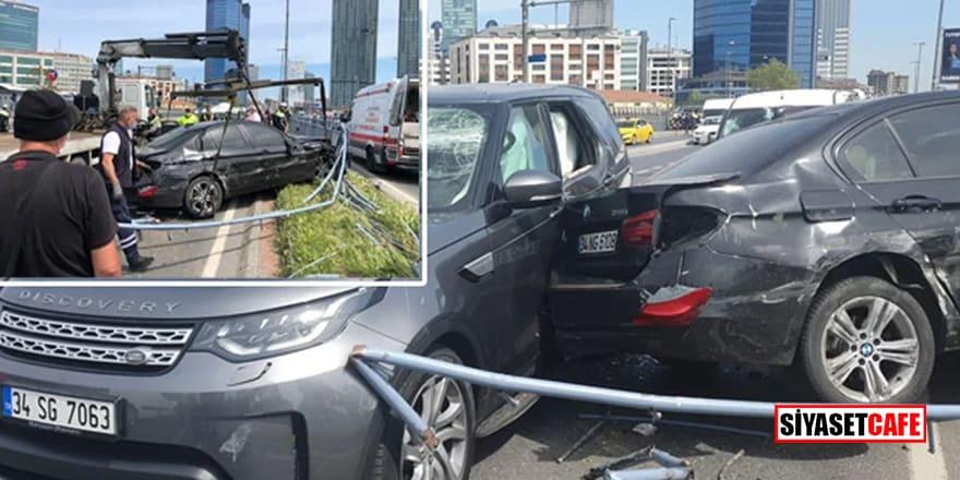 Beşiktaş'ta lüks araçlar birbirine girdi! Yaralılar var