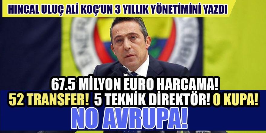 Ali Koç'un 3 yıllık bilançosu: 67.5 milyon Euro harcama! 52 transfer! 5 Teknik direktör! 0 Kupa!
