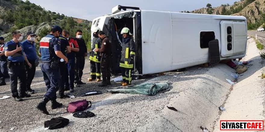 Tur otobüsü devrildi: Çok sayıda öğrenci yaralı