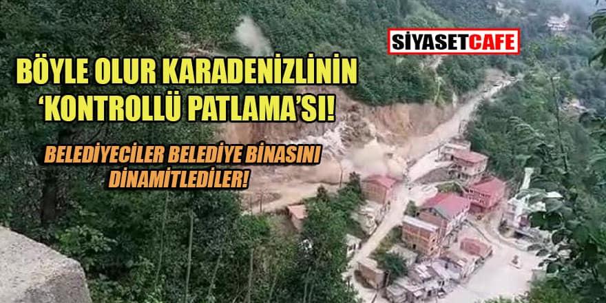 Belediye yol çalışmasında belediye binasını patlattı!