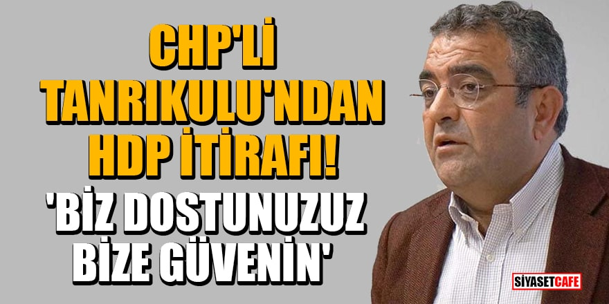 CHP'li Tanrıkulu'ndan HDP itirafı! 'Biz dostunuzuz, bize güvenin'