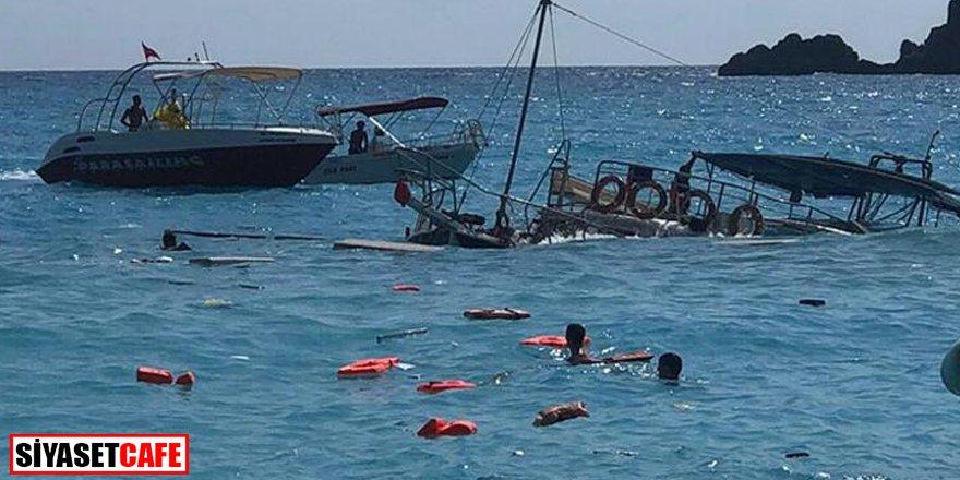 Fethiye'de faciadan dönüldü: Tur teknesi battı